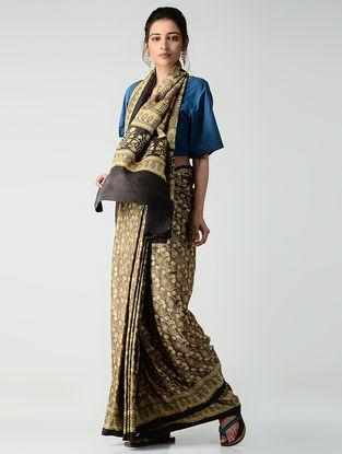 Ochre-Brown Ajrakh-printed Gajji Silk Saree