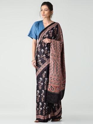 Black-Red Ajrakh-printed Gajji Silk Saree