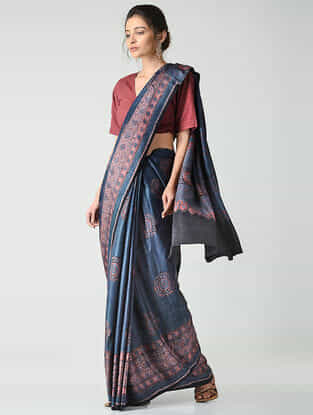 Blue-Red Ajrakh-printed Gajji Silk Saree