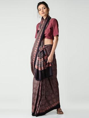 Red-Black Ajrakh-printed Gajji Silk Saree