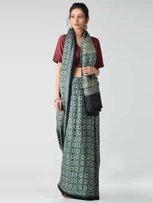 Black-Blue Ajrakh-printed Gajji Silk Saree