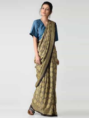 Ochre-Black Ajrakh-printed Gajji Silk Saree