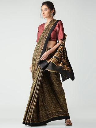 Black-Yellow Ajrakh-printed Gajji Silk Saree