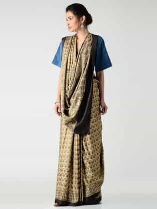 Beige-Brown Ajrakh-printed Gajji Silk Saree