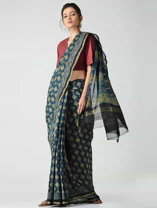 Blue-Olive Ajrakh-printed Chanderi Saree with Zari Border