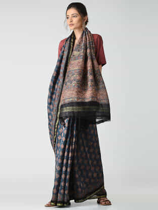 Blue-Red Ajrakh-printed Chanderi Saree with Zari Border