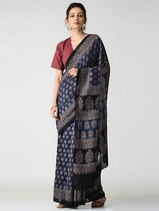 Blue-Black Ajrakh-printed Chanderi Saree