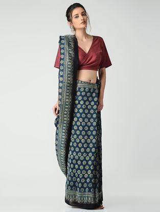 Blue-Beige Ajrakh-printed Chanderi Saree