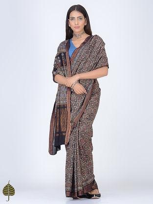 Black-Indigo Ajrakh Printed Cotton Saree with Zari Border by Jaypore