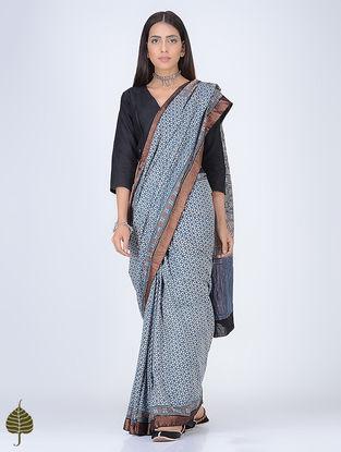 Indigo-Ivory Ajrakh Printed Cotton Saree with Zari Border by Jaypore