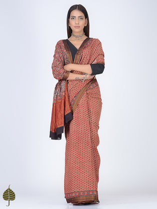 Madder-Ivory Ajrakh Printed Cotton Saree with Zari Border by Jaypore
