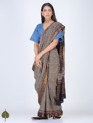 Black-Ivory Ajrakh Printed Cotton Saree with Zari Border by Jaypore