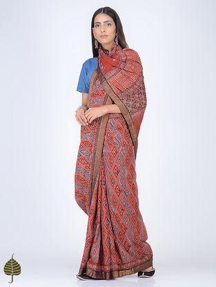 Madder-Indigo Ajrakh Printed Cotton Saree with Zari Border by Jaypore