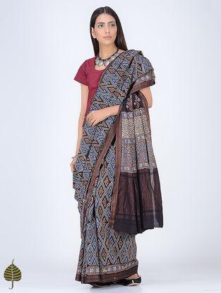 Indigo-Black Ajrakh Printed Cotton Saree with Zari Border by Jaypore