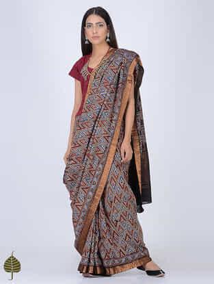Indigo-Madder Ajrakh Printed Cotton Saree with Zari Border by Jaypore