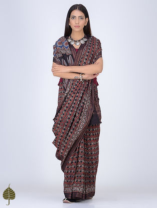 Madder-Black Ajrakh Printed Cotton Saree with Zari Border by Jaypore