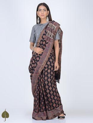 Black Ajrakh Printed Cotton Saree with Zari Border by Jaypore