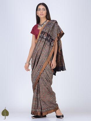 Black-Madder Ajrakh Printed Cotton Saree with Zari Border by Jaypore