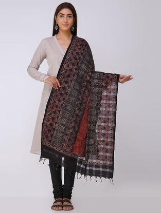 Black-Madder Ajrakh Handloom Cotton Dupatta by Jaypore