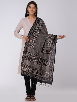 Black-Beige Ajrakh Handloom Cotton Dupatta by Jaypore