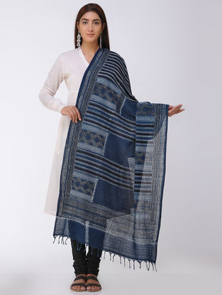 Black-Indigo Ajrakh Handloom Cotton Dupatta by Jaypore