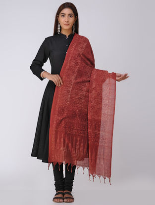 Madder-Beige Ajrakh Handloom Cotton Dupatta by Jaypore