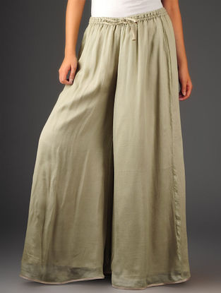 Light Olive-Golden Chiffon-Tissue Elasticated Waist Palazzos-Free Size