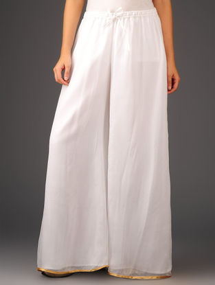 White-Golden Chiffon-Tissue Elasticated Waist Palazzos-Free Size