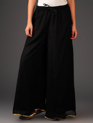 Black-Golden Chiffon-Tissue Elasticated Waist Palazzos-Free Size