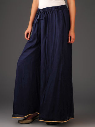 Navy-Golden Chiffon-Tissue Elasticated Waist Palazzos-Free Size
