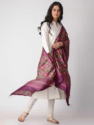 Pink-Grey Block-printed Tussar Silk Dupatta