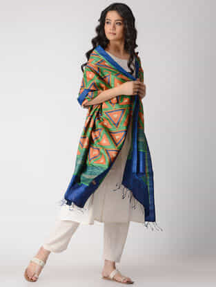 Orange-Blue Block-printed Tussar Silk Dupatta