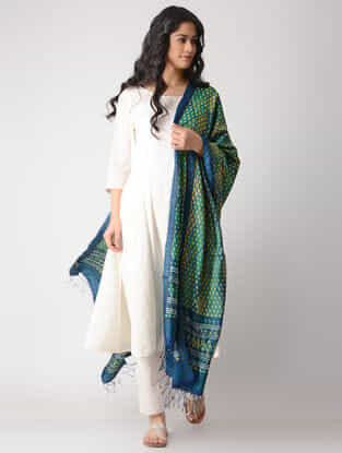 Green-Blue Block-printed Tussar Silk Dupatta