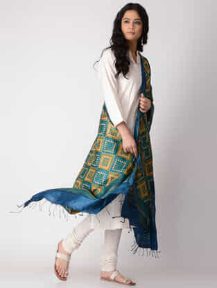 Blue-Orange Block-printed Tussar Silk Dupatta