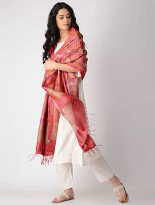 Pink-Orange Block-printed Tussar Silk Dupatta