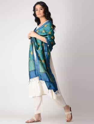 Blue-Green Block-printed Tussar Silk Dupatta