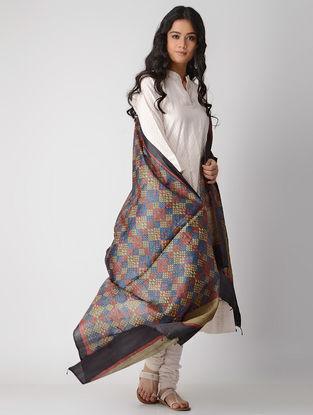 Beige-Blue Block-printed Tussar Silk Dupatta