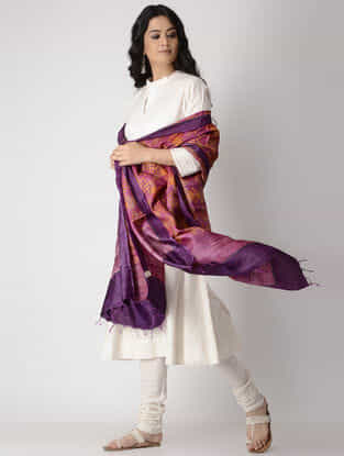Purple-Orange Block-printed Tussar Silk Dupatta
