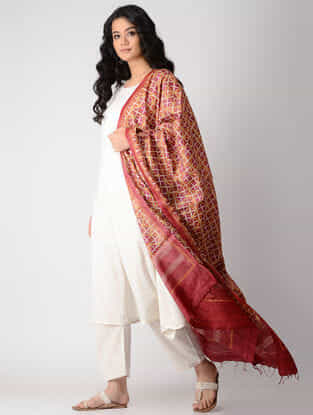 Red-Orange Block-printed Tussar Silk Dupatta