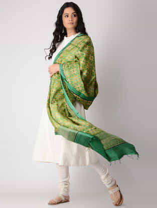 Yellow-Green Block-printed Tussar Silk Dupatta