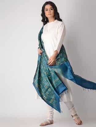 Blue-Beige Block-printed Tussar Silk Dupatta