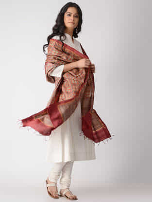 Red-Beige Block-printed Tussar Silk Dupatta