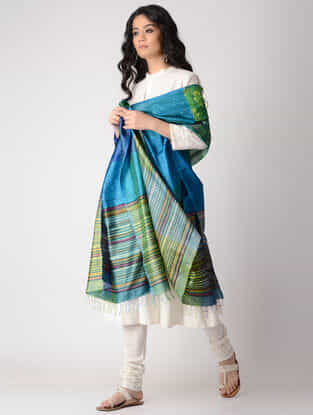 Green-Blue Block-printed Silk Dupatta