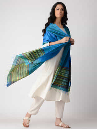 Blue-Green Block-printed Silk Dupatta