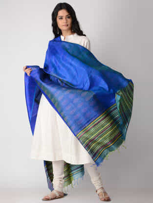 Blue-Yellow Block-printed Silk Dupatta