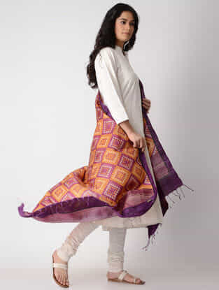 Orange-Purple Block-printed Tussar Silk Dupatta