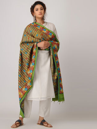 Green-Red Block-printed Kantha-embroidered Silk Dupatta