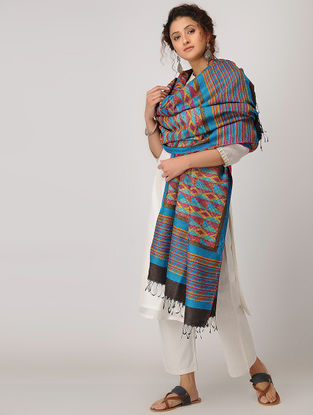 Blue-Yellow Block-printed Kantha-embroidered Silk Dupatta