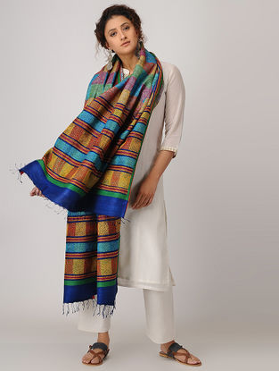 Yellow-Red Block-printed Kantha-embroidered Silk Dupatta