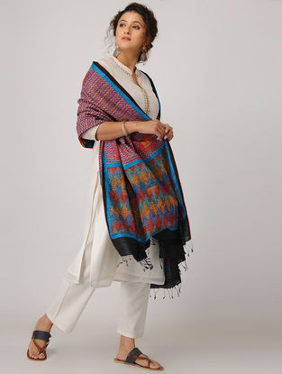 Pink-Red Block-printed Kantha-embroidered Silk Dupatta